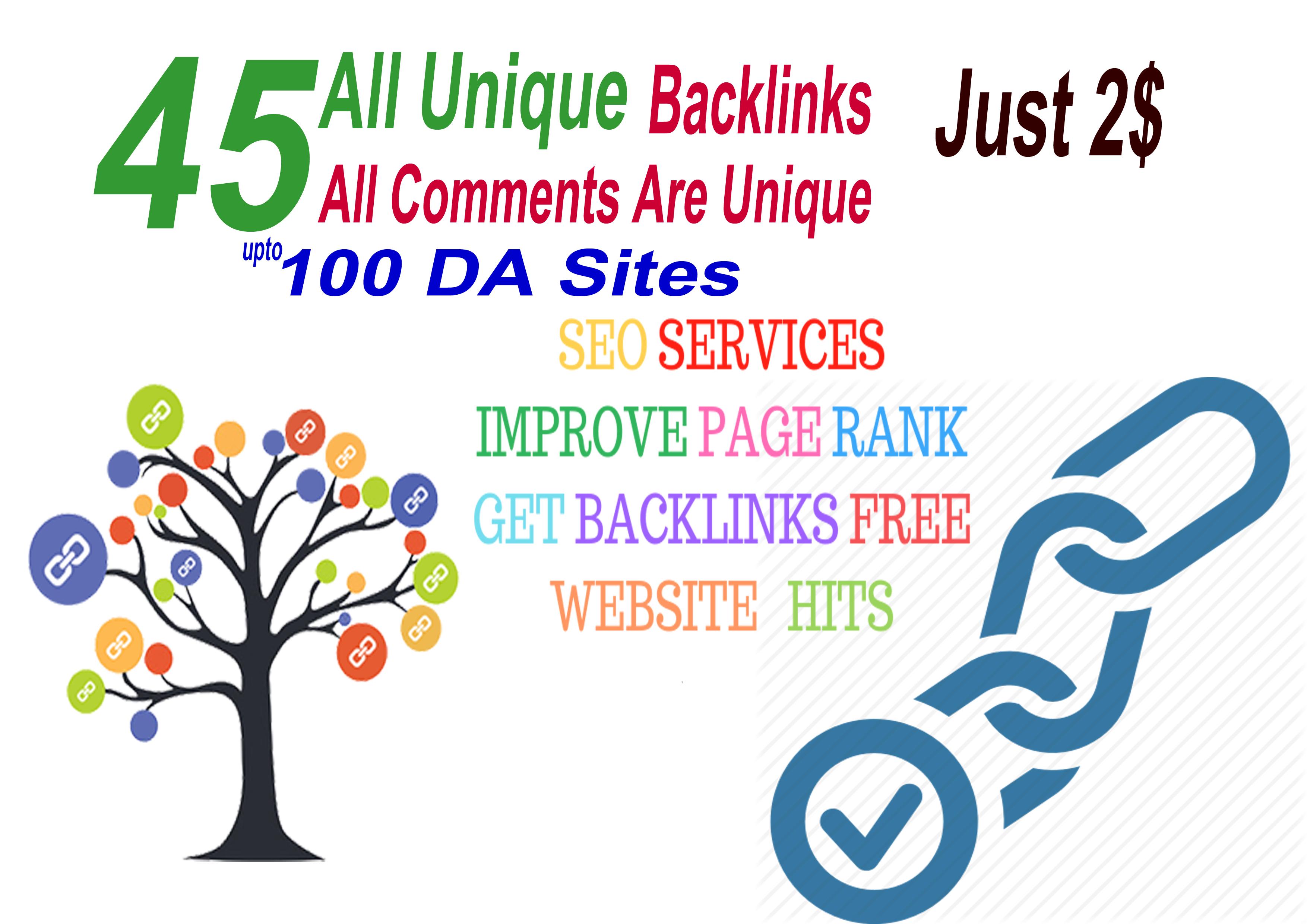 I will Do 45 All Unique Backlinks 100 DA Sites