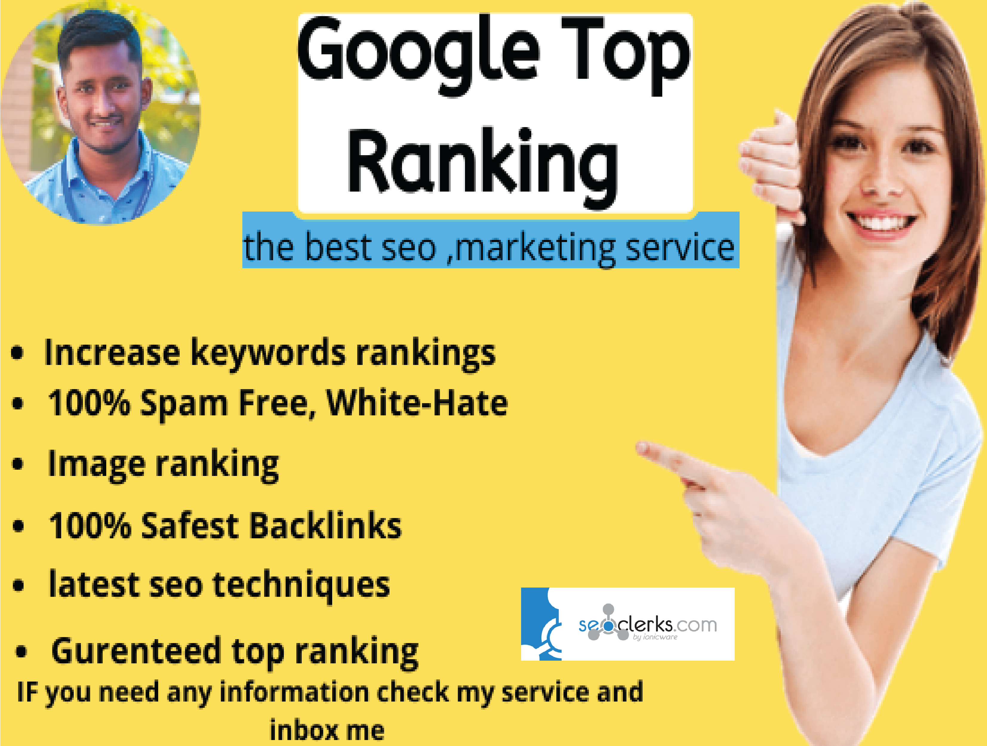 I will do google top 10 ranking white hat seo,  monthly service
