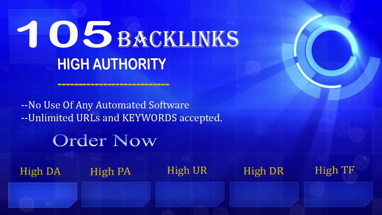 I will build 105 Manual High Domain Authority Dofollow Backlinks