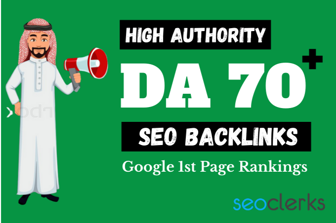 100 High Authority DA 70 to 100 Backlinks - Land on Google 1st Page with High DA Backlinks