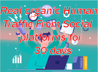 Real Organic Human Traffic Daily 1000+ visitors to your site from social platfroms for 30 days