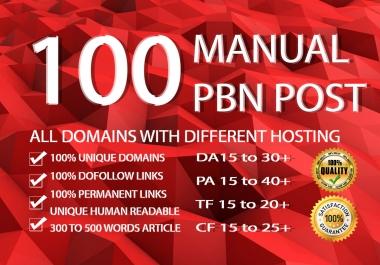 We will do 100 Pbn Backlinks With High Domain Metrics