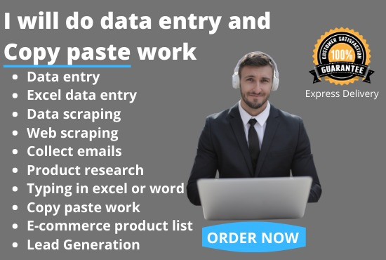 I will do excel data entry job,typing,copy paste,web scraping