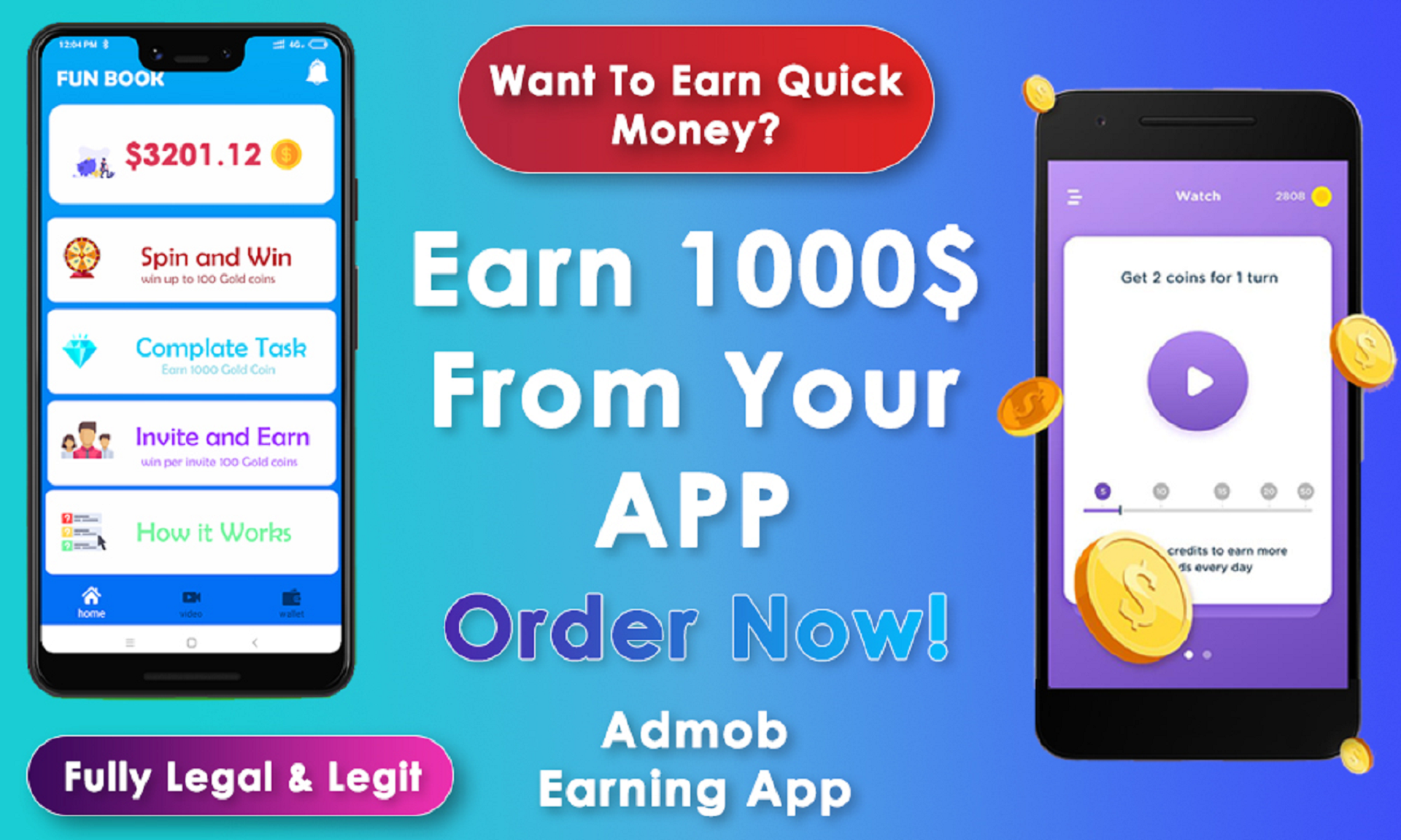 develop a pro android earning app with ads