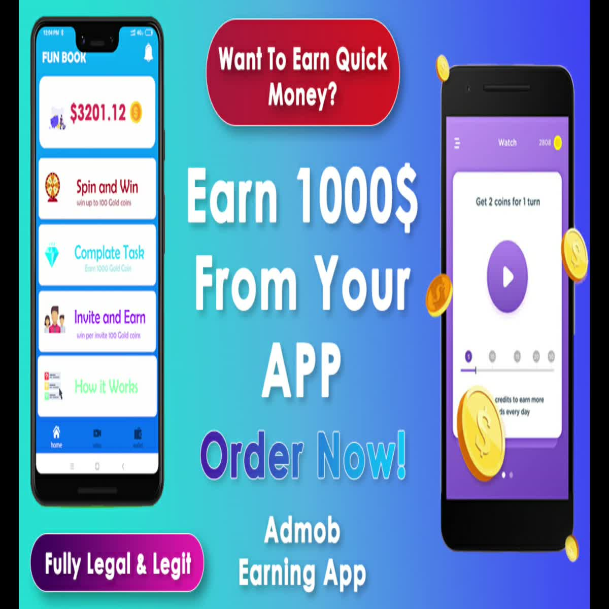 develop a professional android earning app with ads