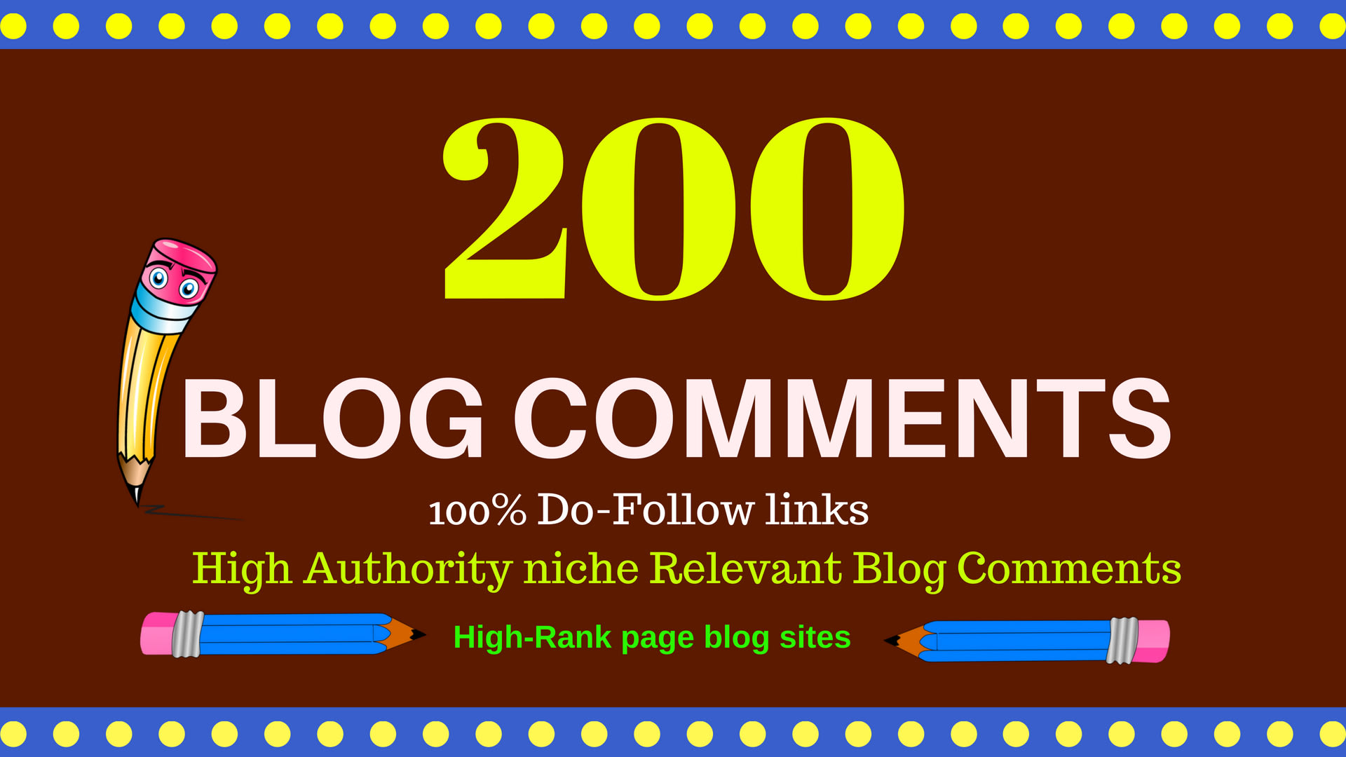 Create 200 high quality blog comments backlinks unique domain,  for boost your websites.