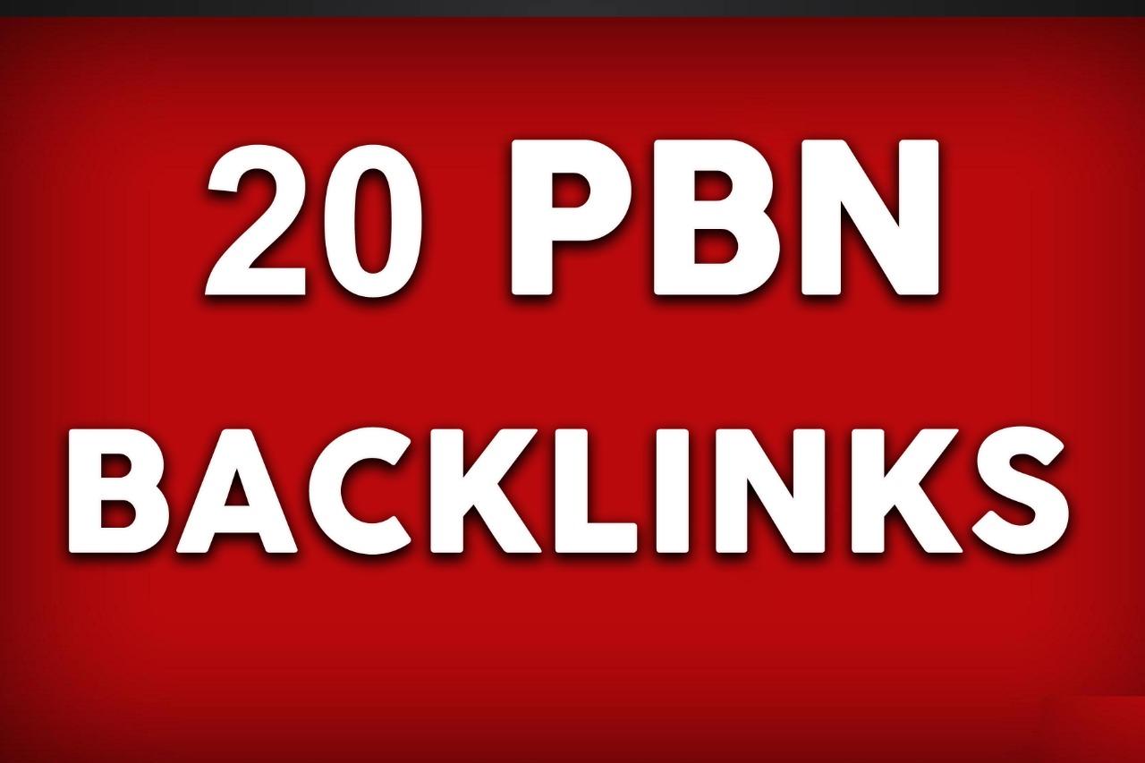 Create 20 homepage PBN Backlinks DA 30 to 40 plus Manual work