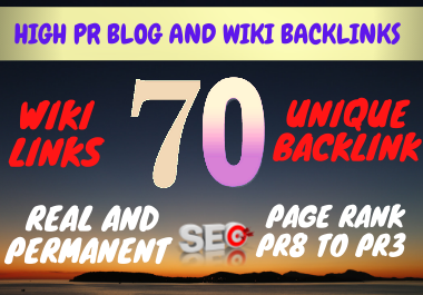 Top SEO Rankings with Wiki Links 70+ High PR Backlinks