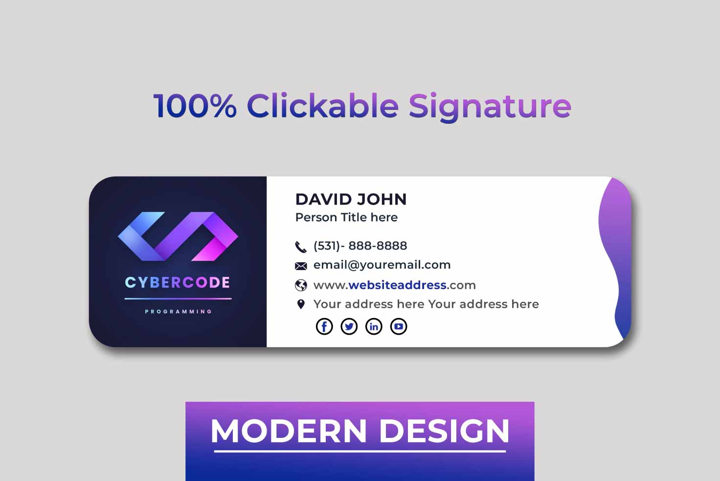 I will design clickable HTML email signature for you