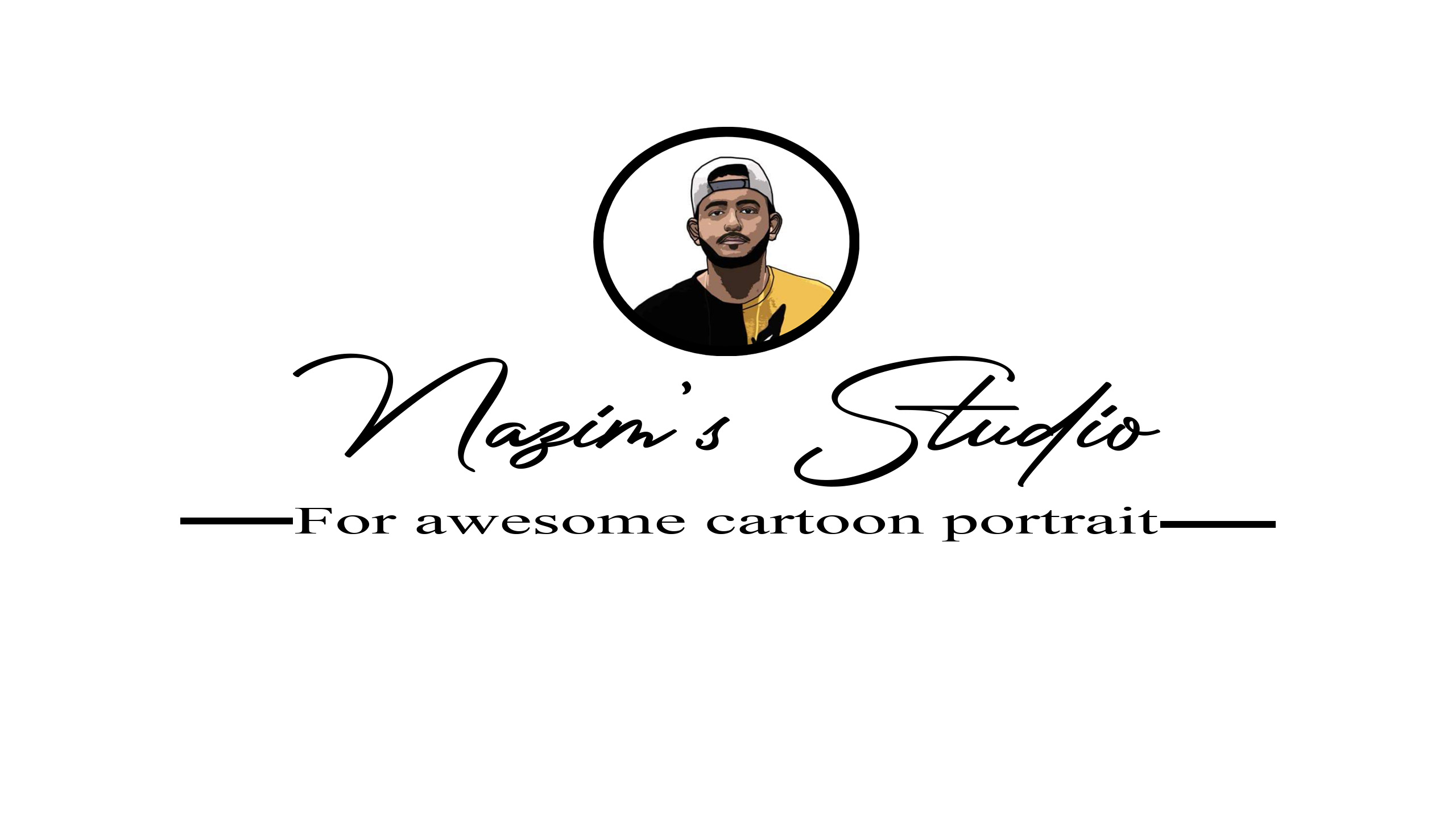 Create transparent logo with name and cartoon portrait