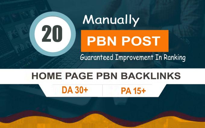 Provide you 20 high DA 30-40 PBN backlinks