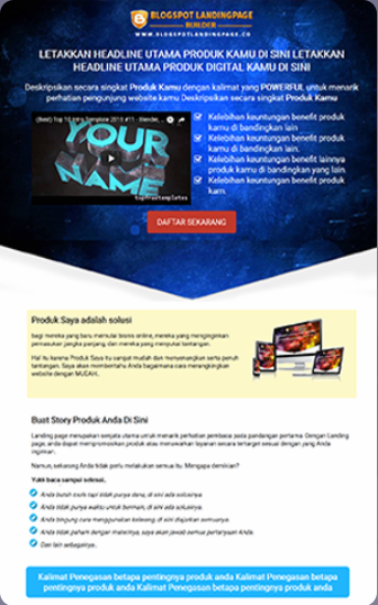 send tamplate blogspot landing page builder