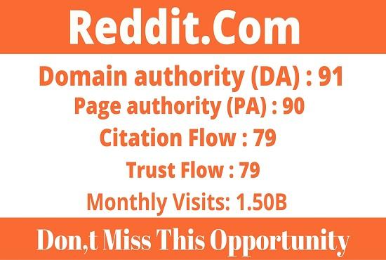 DA91+ Publish And Write Guest Post On Reddt - Reddit. com
