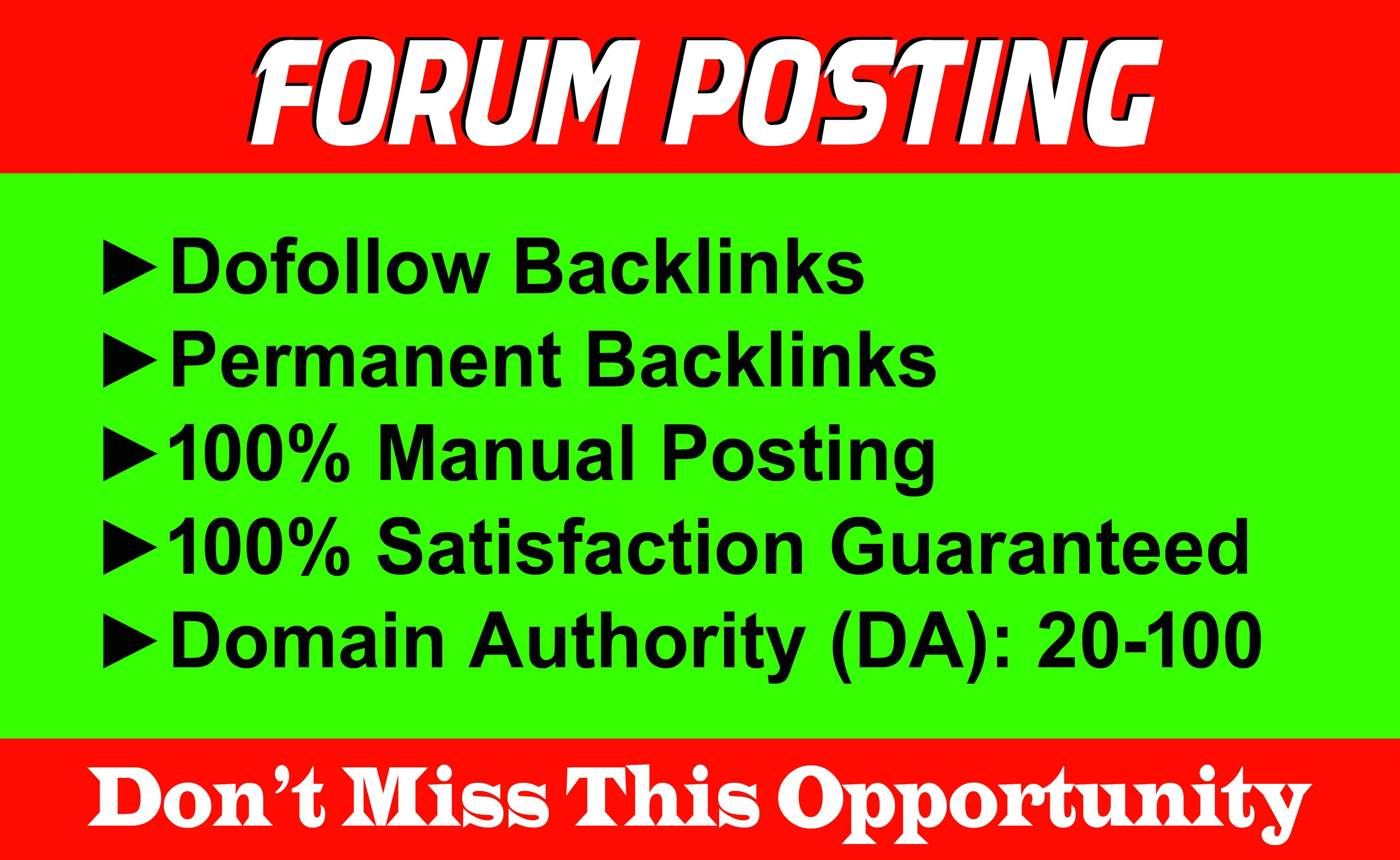 Manually 100 Forum Posting SEO Backlinks for Google Ranking