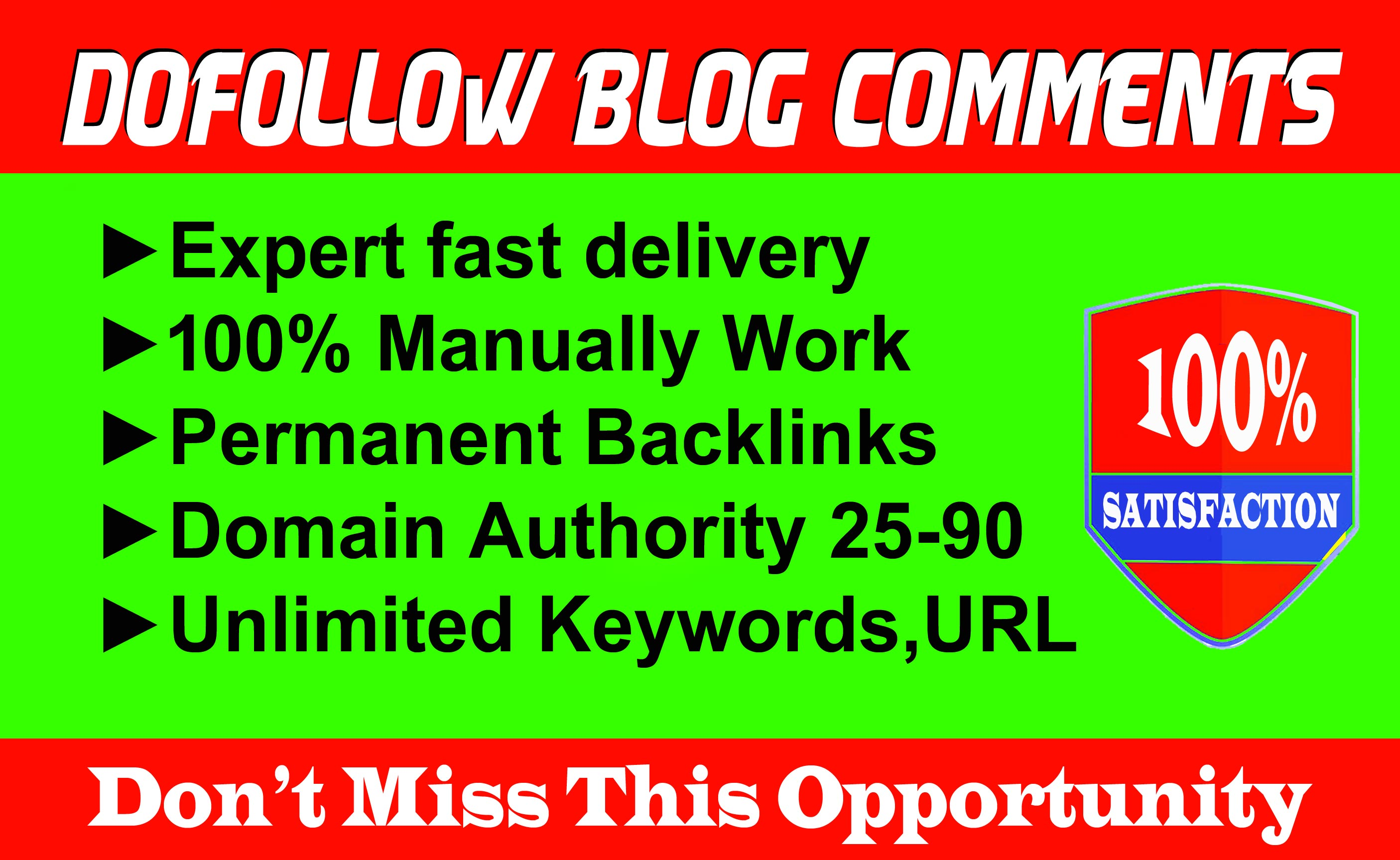 Provide 50 dofOllow blog comments backlinks on High DA Blog