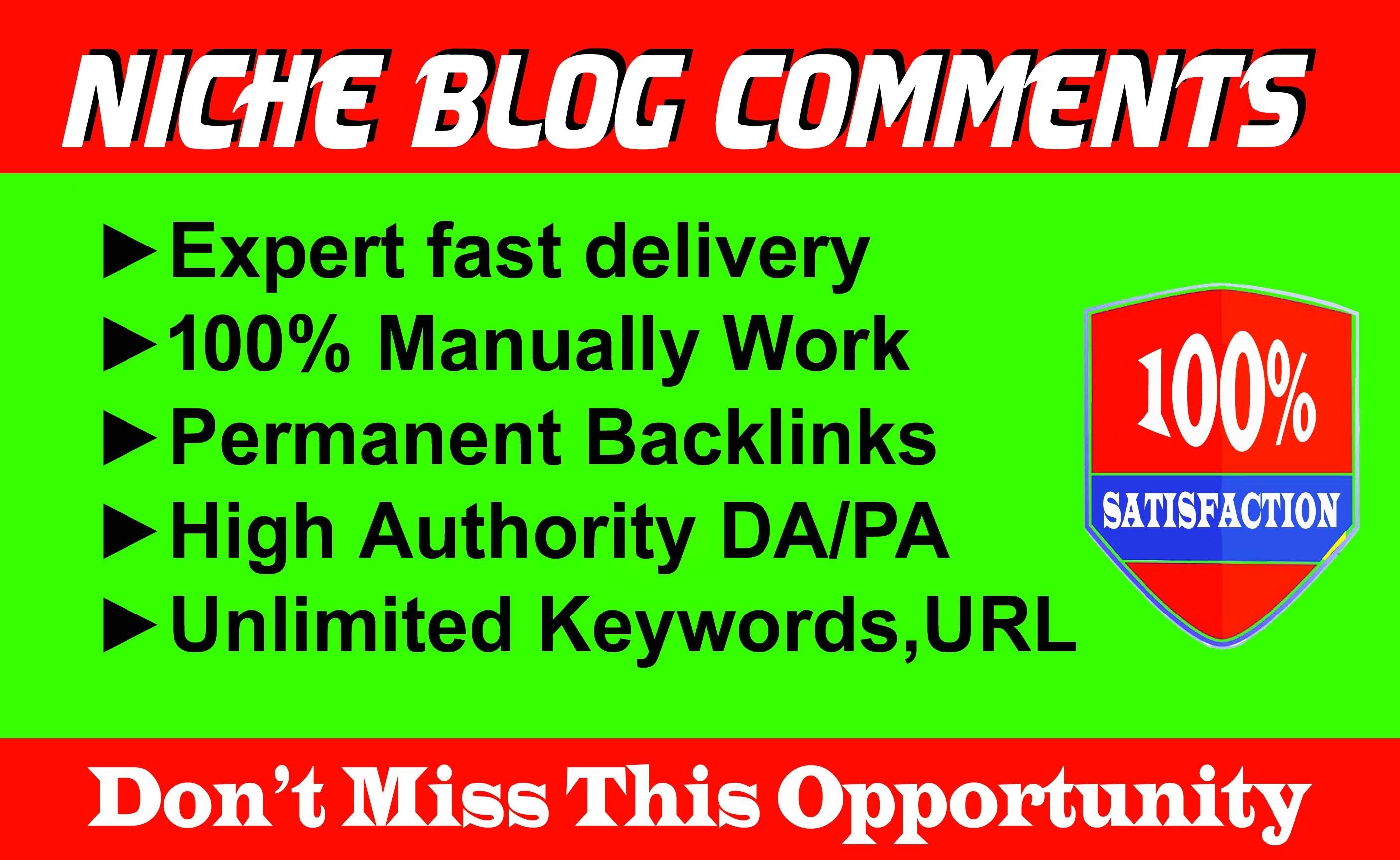 Provide 100 Niche Relevant Blog Comments Backlinks