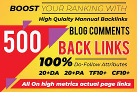 500 Blog Comment Dofollow Backlink High DA PA Manual Work Only