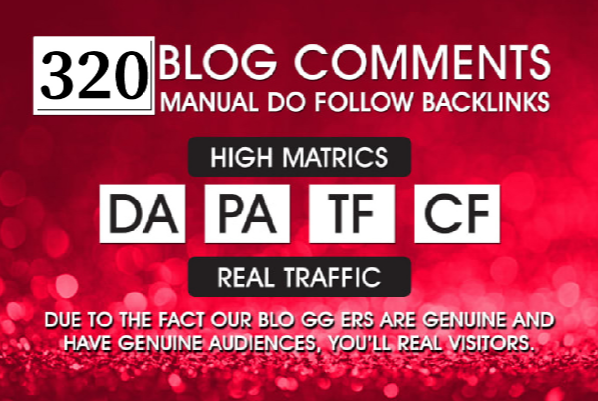 320 Dofollow Blog Comment Backlink DA PA TF CF Moz Autority