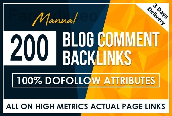 200 Dofollow Blog Comment Backlink High DA PA Moz Autority