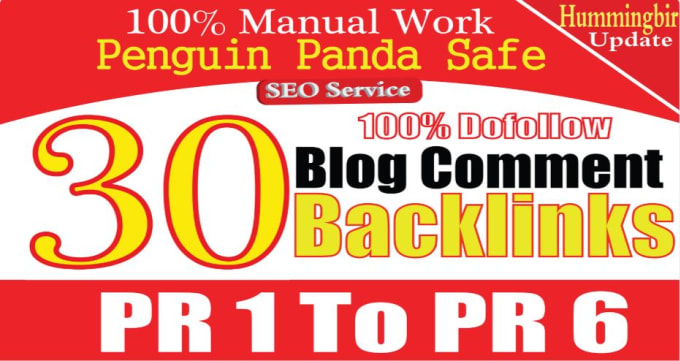 30 Dofollow Blog Comment Backlinks High DA PA PR1 To PR6