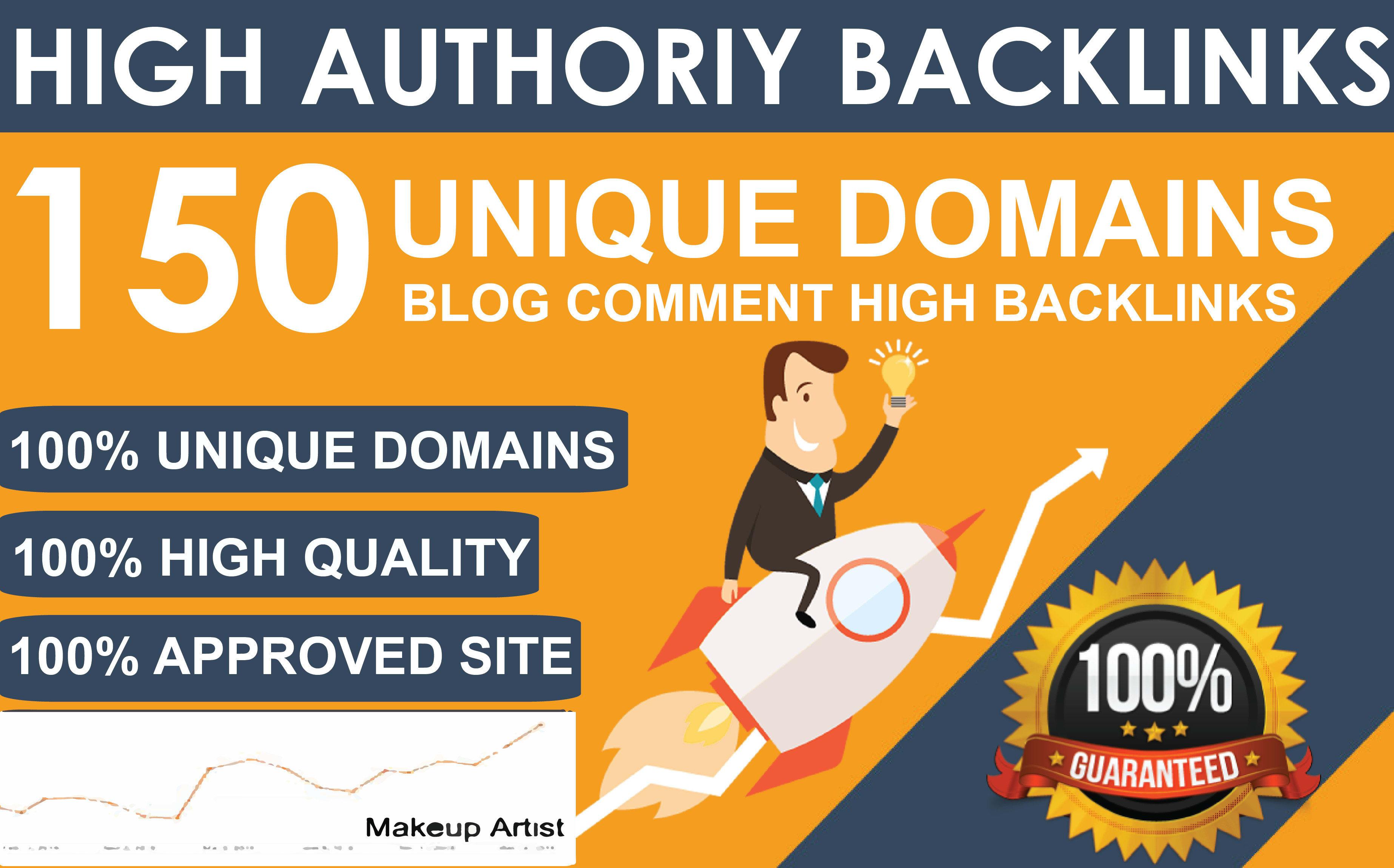 150 Unique Domains Blog Comment Dofollow Backlinks High DA PA google Rank Obl Low Website Traffic