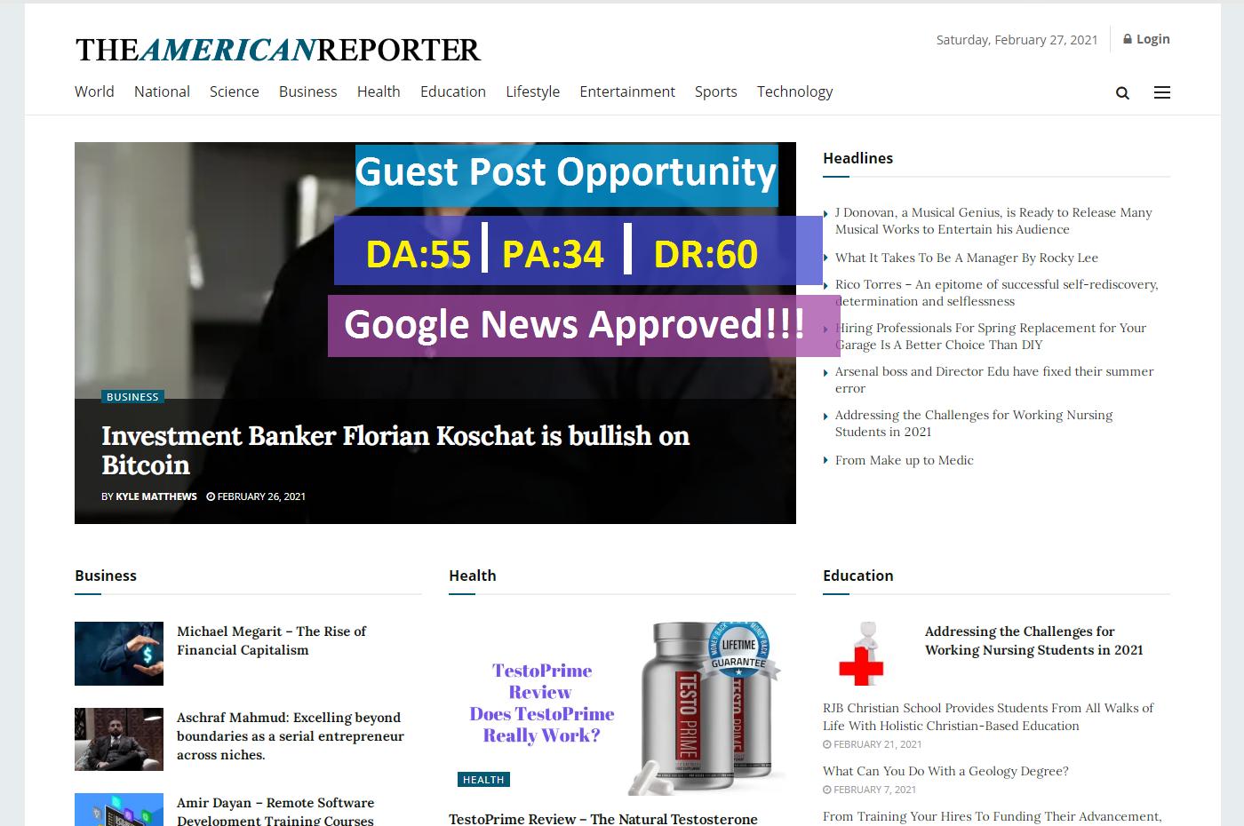 Publish Premium Guest Post On theamericanreporter. com google news approved da55