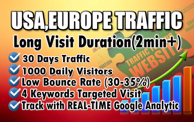 I will bring real organic USA, Europe web traffic, To Your site