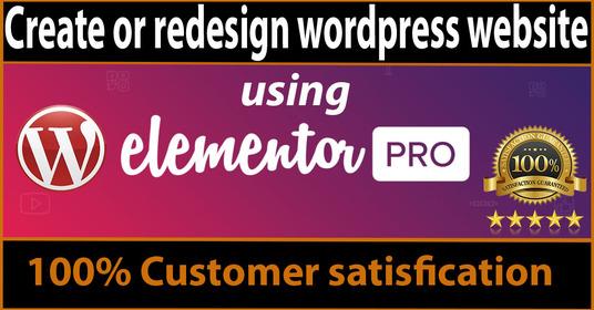 Professionally will design wordpress website using elementor pro