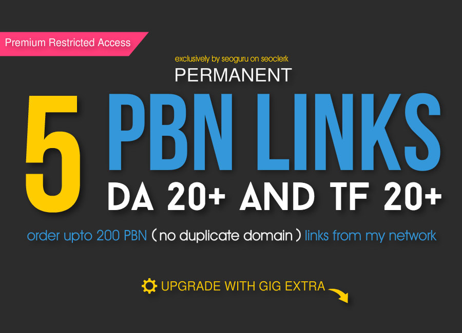 I will create 5 permanent high da pbn links