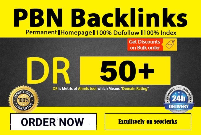 Create 50 High Metrics DR 50+ High Authority Unique D0-Follow Backlink