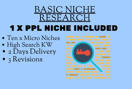 I will research a PPL Niches for Adsense or affiliate