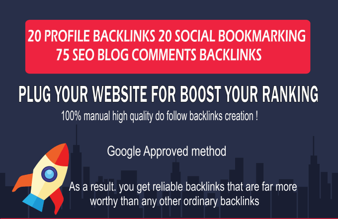 I will do 20 profile backlinks or 20 edu/gov backlinks and 75 blog comments on DA 20 to 90 websites