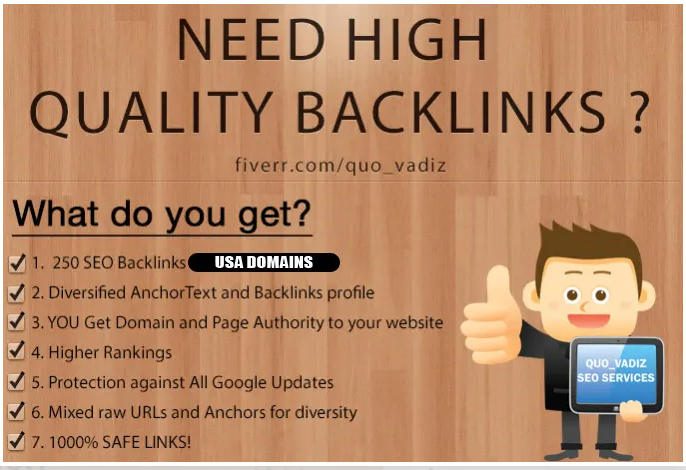 250 high quality backlinks improves SEO i will in 2020