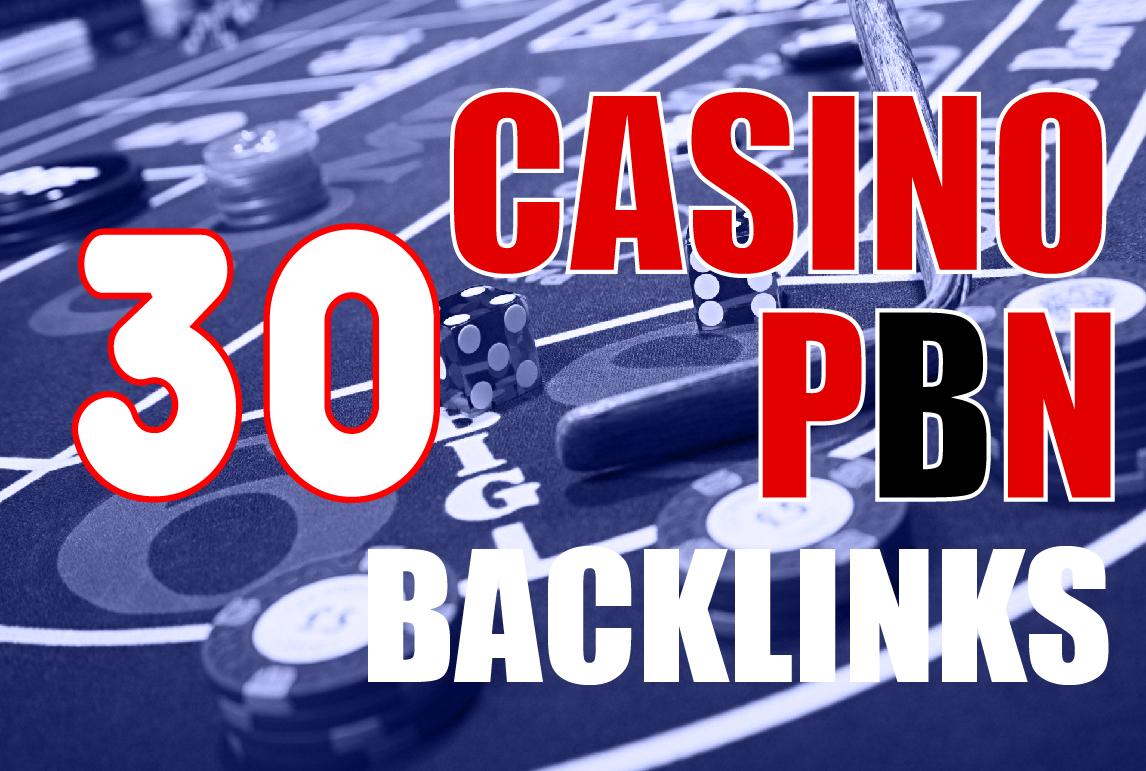 I will create 30 Homepage PBN Niche Casino,  Gambling,  Poker,  Related backlinks