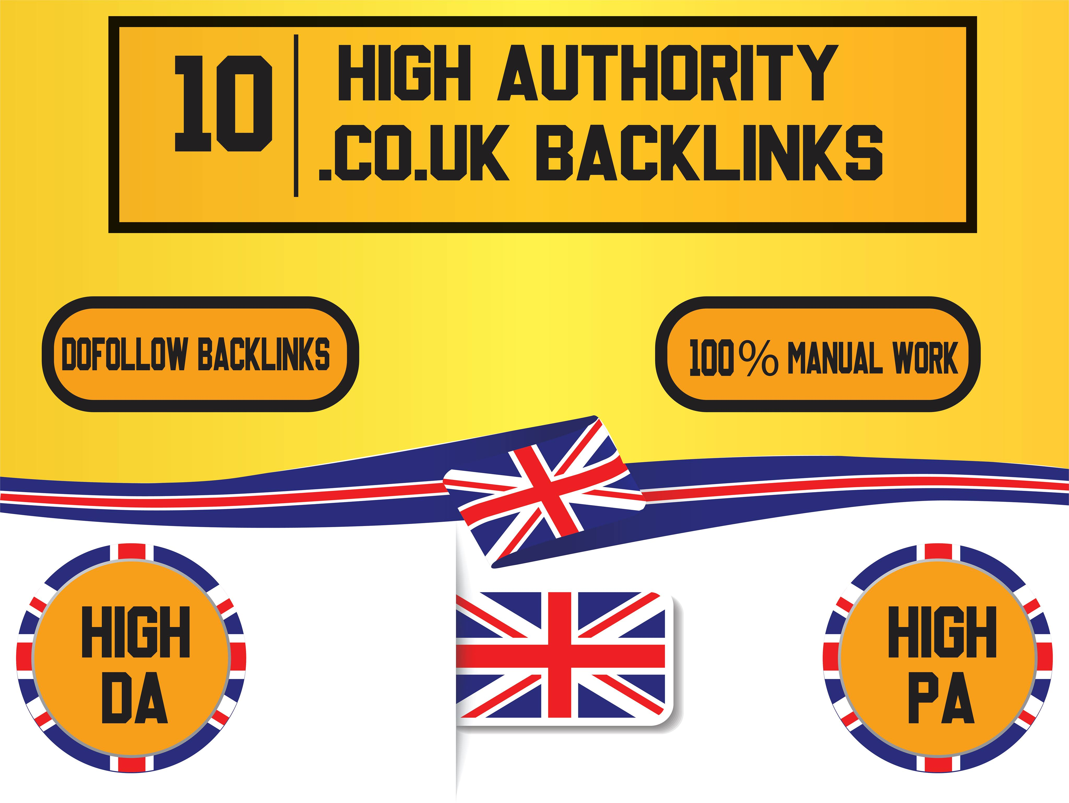 provide 10 co dot uk based high qualtiy dofollow powerful backlinks