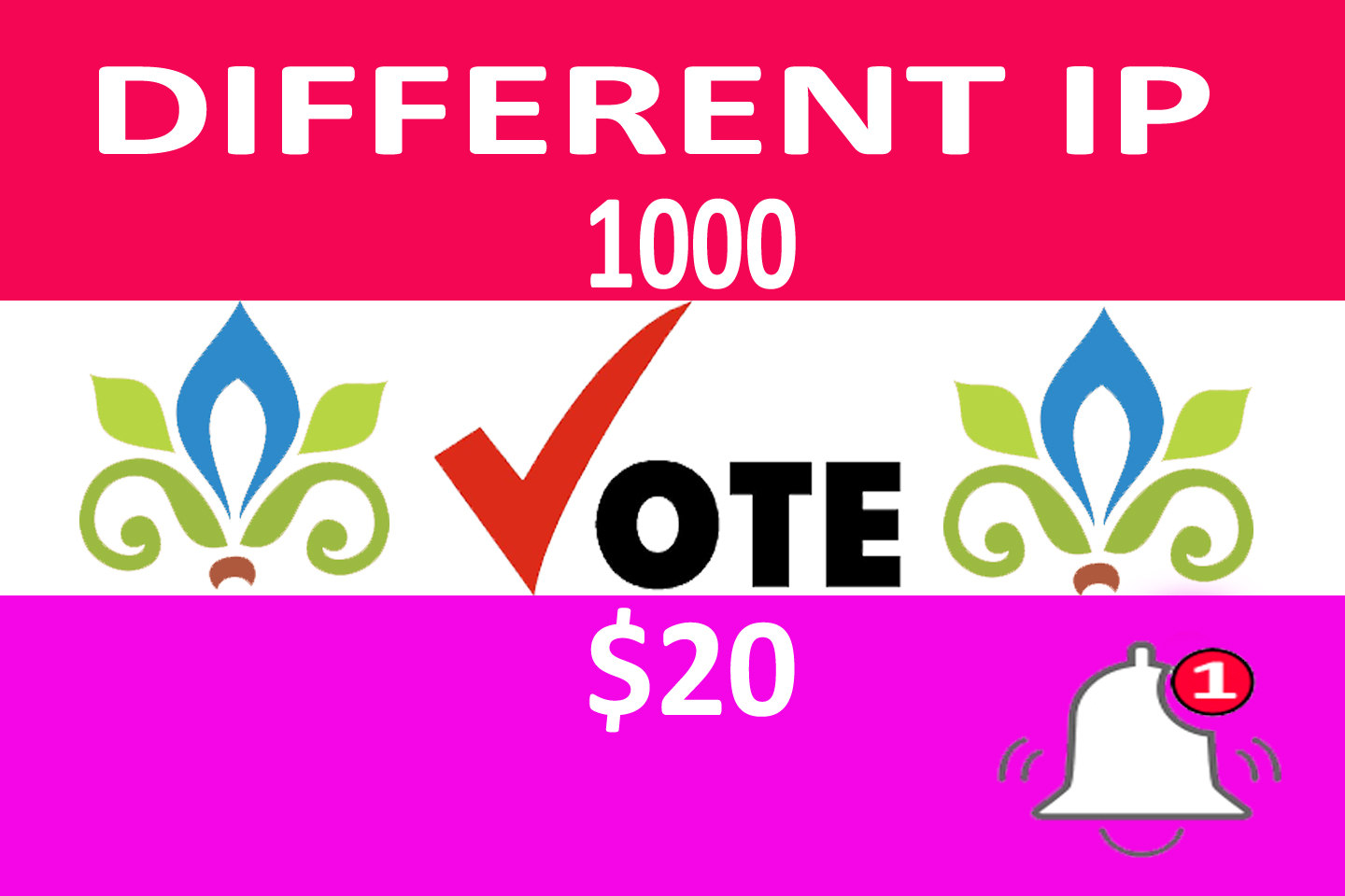 I will provide different ip vote different Price 1000 IP vote