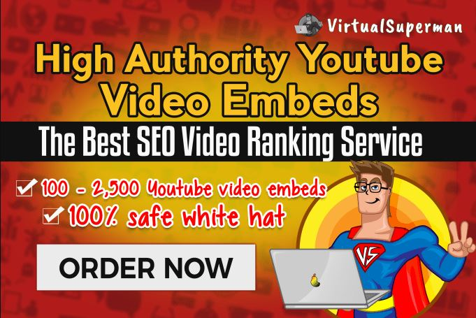 I will embed your youtube video in top web2 websites with the best seo video ranking