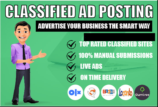 I will do 32 classified ad posting to top rated sites