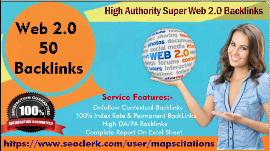 I will build 50 high authority super web 2.0 backlinks