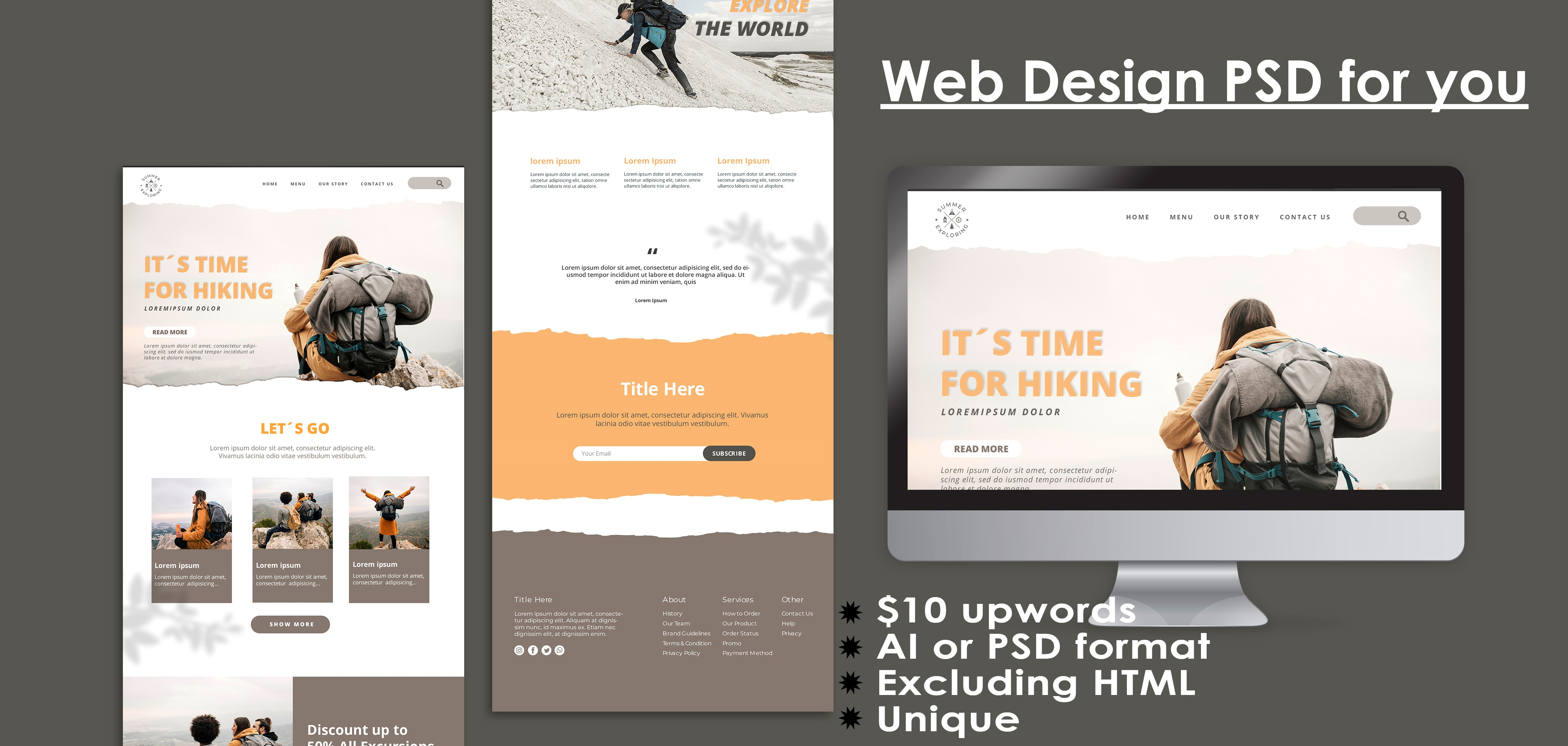 Design web site template or website PSD