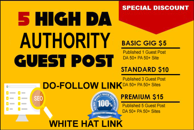 I will published 5 guest post high da 50 plus website
