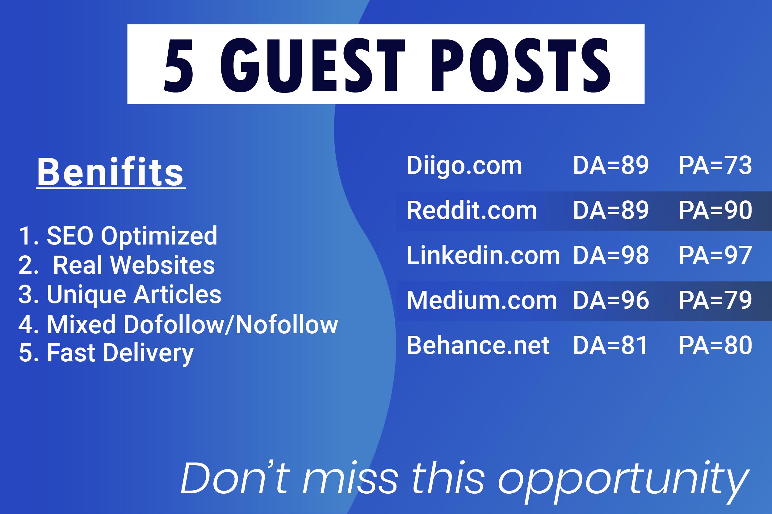 Publish 5 Backlinks Guest Posts DA 90 Best Sites and Safe SEO
