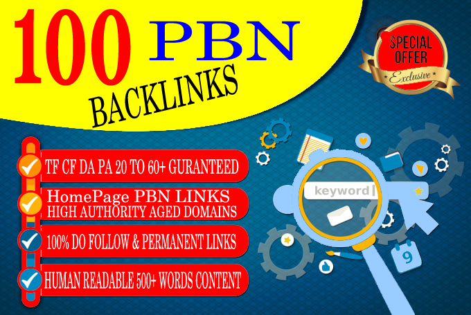100 Permanent DA 55+ High Quality PBN Dofollow Backlinks