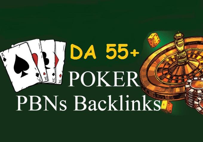 20 permanent DA 55+ PBN Backlinks Casino,  Gambling,  Poker,  Judi Related Websites