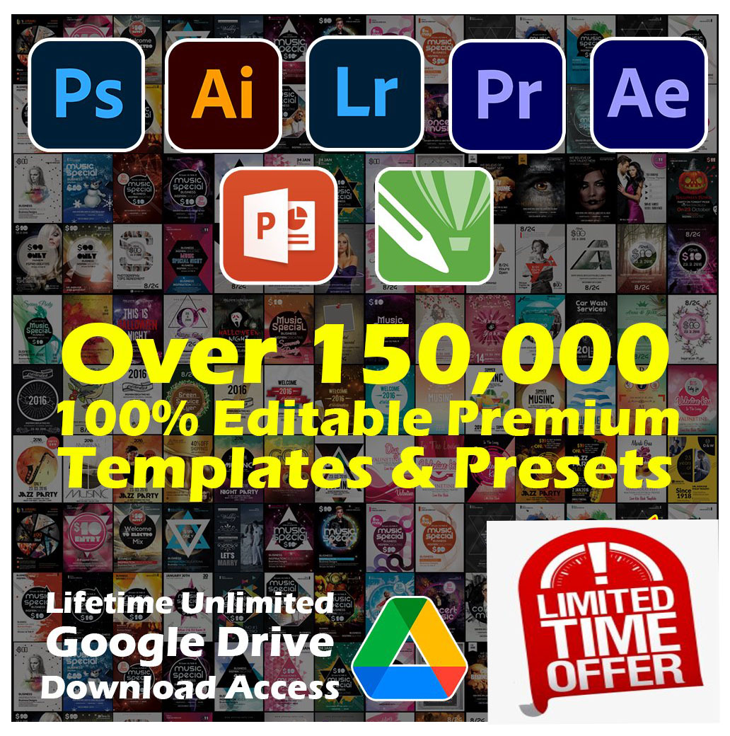 Over 200,000 Premium 100 Editable Templates and Presets Package