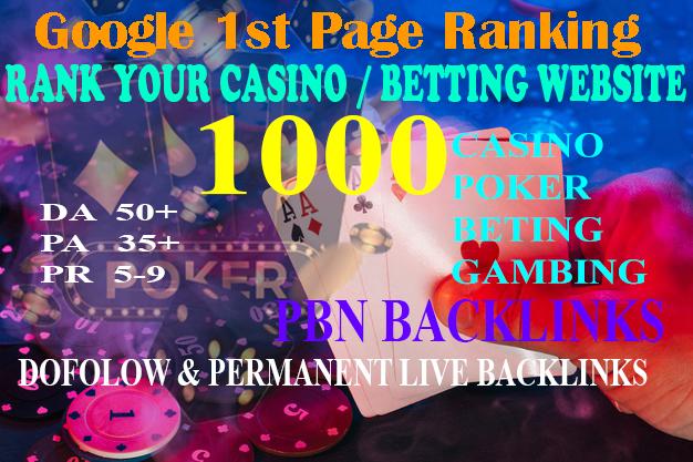New Offer 1000 Casino Backlinks for Gambling Poker Sports Betting Online Casino sites