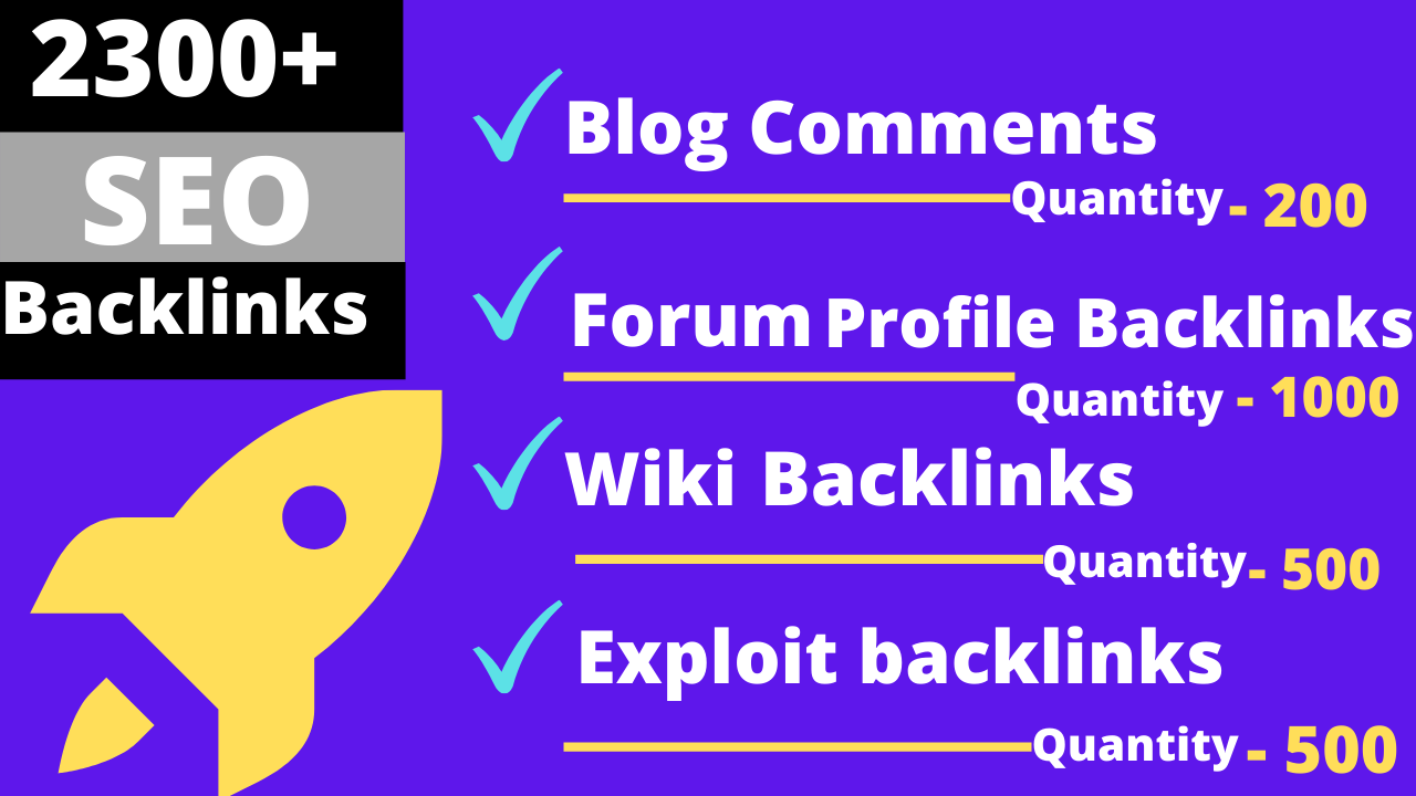 2200 backlinks Forum Profiles Backlinks,  Exploit Backlinks,  Wiki Backlinks,  Blog comments Backlinks