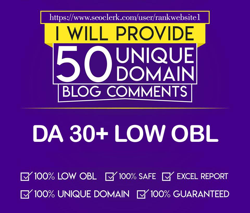 I will do DA30+ 50 Unique Domain With Low OBL