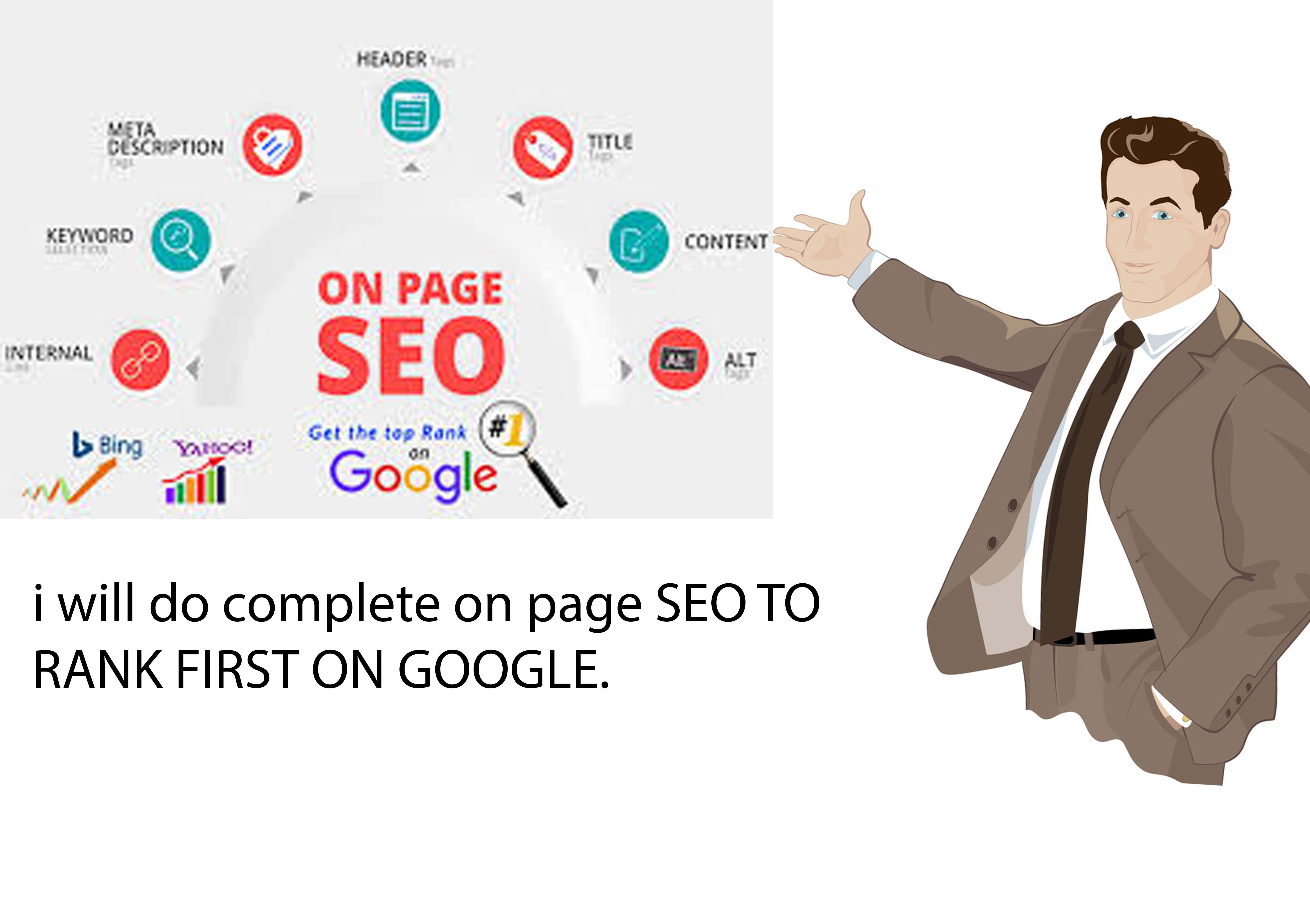 I will do complete on page SEO and free backlinks for google top ranking