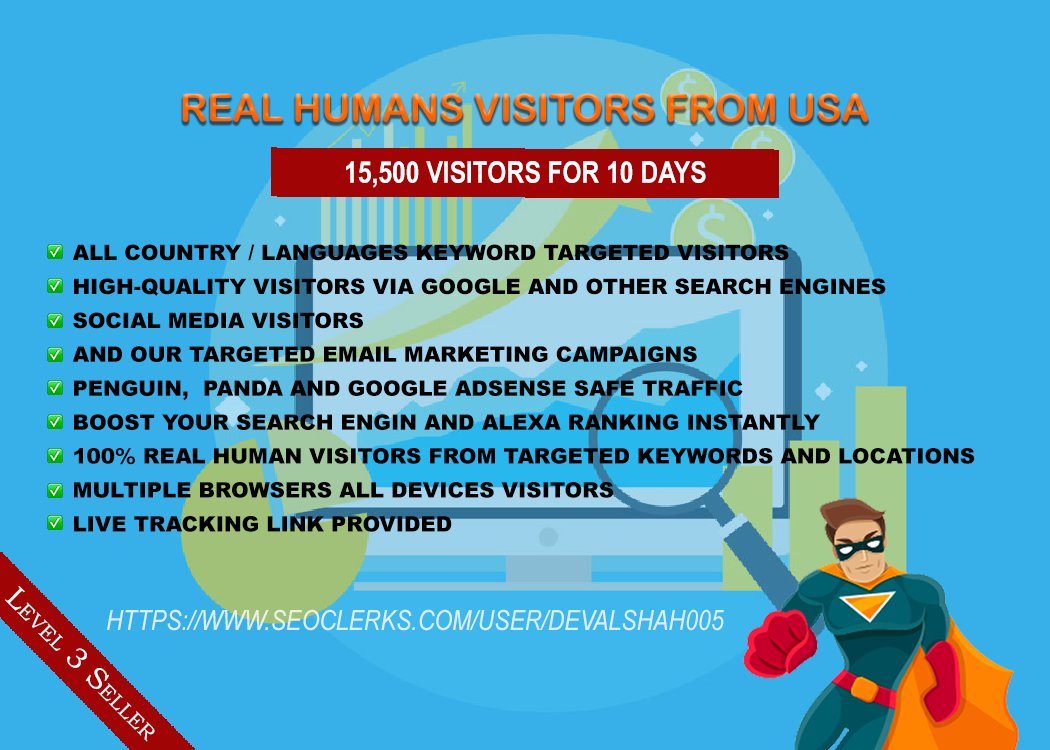 I well send 15,500+ Organic Real Humans Google and Social media Traffic from the USA to your Website